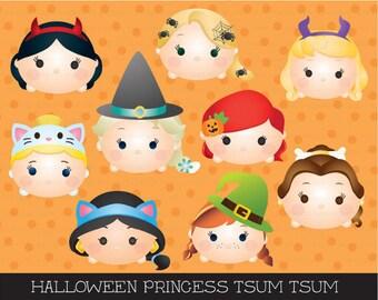 halloween princess tsum tsum clipart, tsum tsum graphics, halloween clipart, cute halloween, party, princess, instant download