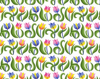 Jane Sassaman - Spring Fever - Tulips - Rainbow Item # PWJS099.RAINB