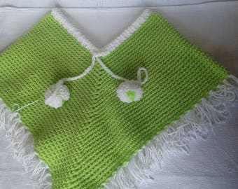 baby poncho size 12 months in soft green and white wool