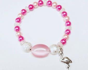 Pink Flamingo bracelet, pink, silver, pale pink, dress up, animal, charm, beach