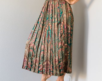 70s Vintage Long Pleated Paisley Print Skirt Large L Medium M