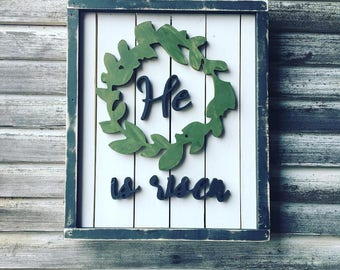 Easter/ Spring He Is Risen Wood Cut Out Sign Home Wall Art Decor
