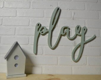 Play Word Wood Cut Out For Children's Playroom Wall Decor