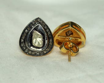 Victorian-style antique finish 2.80ctw rose cut uncut polki diamond Gold-plated silver Drop Earrings studs - 2651719