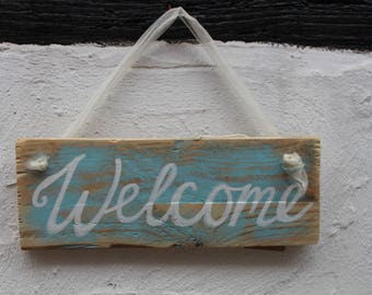 Welcome, wooden sign