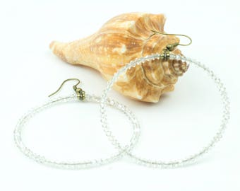 Hoop Earrings, Beaded Hoop Earrings, Large Hoop Earrings, Lightweight Hoop Earrings, Dangle Earrings, Bohemian Hoop Earrings, Gift
