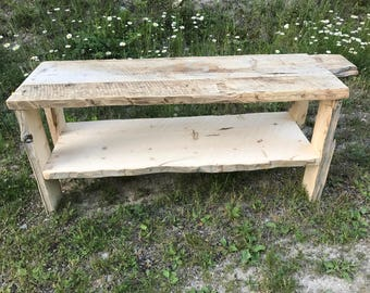 Rustic Barnwood Bench with Shelf