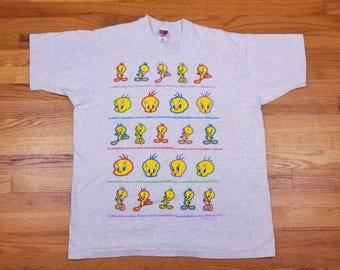 Vintage 90s 1995 Tweety Bird Looney Tunes Shirt Size XL