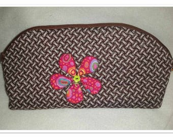 "Cosmetic bag Brown Shweshwe with pink flower 11""x6"""