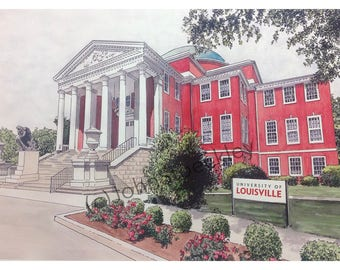 University of Louisville LIMITED EDITION Pen and Ink and Watercolor Art Print Illustration - Graduation Gift, university