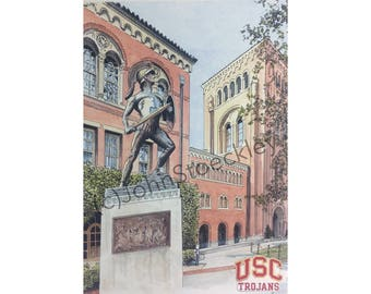 USC Trojans LIMITED EDITION Pen and Ink and Watercolor Art Print Illustration - University of Southern California