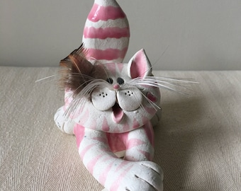 Funky Cat Business card holder -cat lover-hand made-pink cat-hand sculpted and signed by artist-office-desk-business accessories-cats