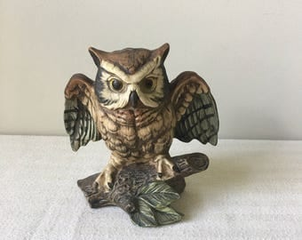 Vintage ceramic owl figurine-Horned owl-knick knack-owl decor-home-house-Cabin-Lodge-Bird art-art bird-birds-collectible-UC CTI- Japan