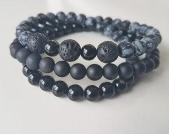 Matte Black Onyx, Black Onyx and Black Lava Stone Wrap Bracelet/ 6mm Gemstones/ Beaded Bracelet/ Wrap