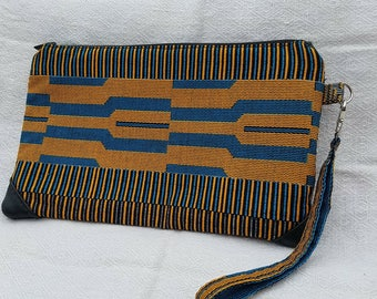 African Print Fabric Clutch/Wristlet with leather detail
