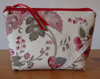 Beautiful Vintage Style Make Up Bag Case, Ivory Floral 100% Cotton Fabric, Cosmetics Purse, Zipper Pouch, Handmade, Lined, Ladies' Gift