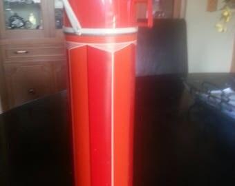 Vintage 1974 KING SEELEY THERMOS Red/Orange w/Black/White Stripes #2410 Handled