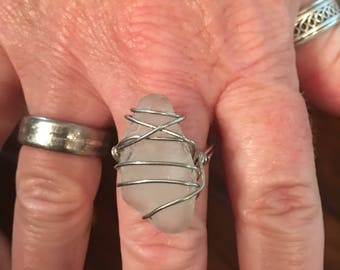Natural White Sea glass wirebwrappedb ring size 8 any size available many options