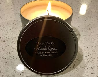 8oz Natural Soy Candle, 8oz tin,  Scented Candle, Mardi Gras
