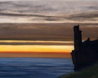 Original seascape oil painting/sundown art/Dunure/scottish castle/home and office decor.