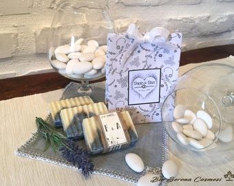 Handmade soaps. Set of 10 party favors. Lavender SOAP + sachet and custom tags for your wedding or any event.
