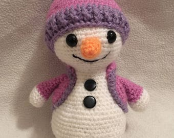 Amigurumi Christmas happy snowman purple