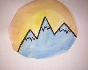 mountain watercolor painting