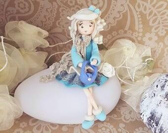 Elegant blue cold porcelain doll night light