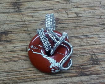 Breccaited Jasper wire wrapped pendant