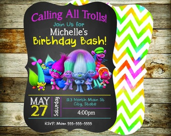 Trolls Birthday Invitation