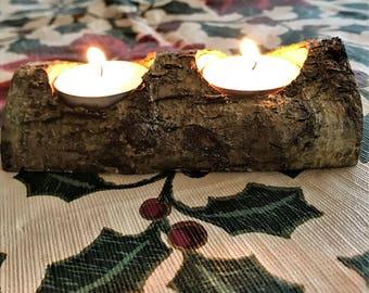 Log double tea-light holder