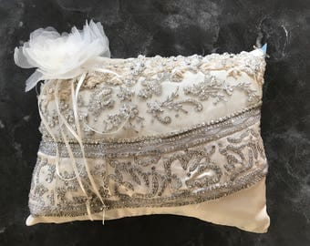 Beautiful Antique Lace on Satin Ring Bearer pillow with 2 different  types of hand made lace