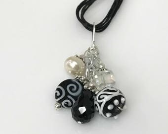 Black/White Manmade Cluster/Slide With Onyx, Iridescent, Pearl