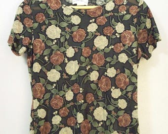 Vintage 90s Black Semi Sheer Grunge Top Red and White Roses Fraizer Lawrence Tee Womens Shirt