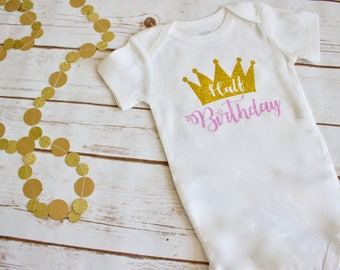 Half birthday shirt, girl's half birthday, princess onesie, half birthday onesie