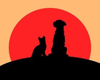 Friends in sunset