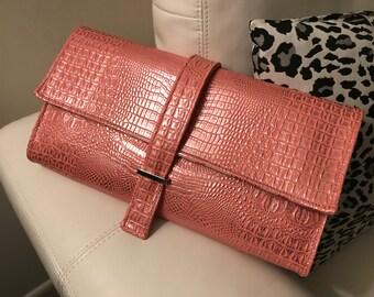 Metallic Pink Silver Faux Crocodile Clutch, Vegan Leather, Women's Gift, Handbag