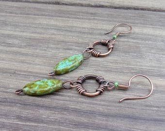 Earrings wire wrapped fancy patinated copper and green/blue marbled beads