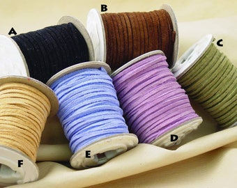 Soft Pigskin Suede Leather Lace - 50 ft Spool - Black, Brown, Tan, Blue, Purple, Green