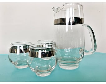Mid Century Chrome Trimmed Pitcher and Three Roly Poly Glasses
