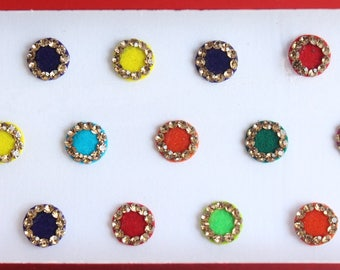 Small Round Colored Velvet Bollywood Bindis,Round Bindis,Velvet Colorful Bindis,Multicolor Face Jewels Bindis,Self Adhesive Stickers
