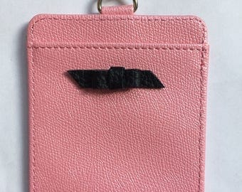 Pink ID Badge Holder with Black Leather Bow and Silver Lanyard Necklace