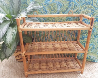 Vintage wicker shelf three tier, bamboo and wicker shelf, wall hanging wicker shelf, boho wicker shelf