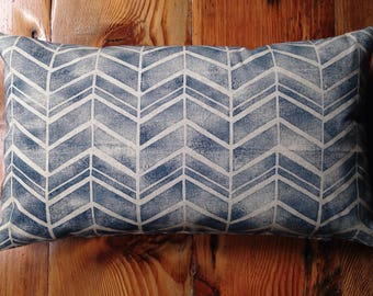 Blue Handmade Block Printed Pillow with Feather Insert 24X14