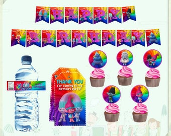 INSTANT DOWNLOAD - Trolls Party Package, Trolls Party Printables, Trolls Printable Kit, Trolls Birthday Party, Trolls Party Supplies