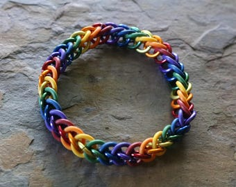 Rainbow chain maille bracelet
