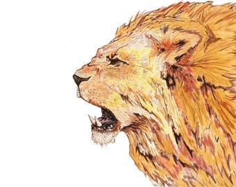 Beautiful, fierce, bold, lion roar watercolour print