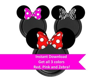 DIY Minnie Plates, Minnie Mouse Party Printables, Minnie Mouse clip art, Minnie Mouse Party, Digital Download, Minnie Mouse Paper Plate,
