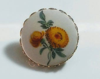 Vintage Yellow Floral Brooch