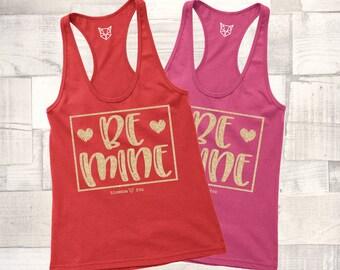 Valentine Tank Top, Be Mine Tank, Love Wins Shirt, GOLD GLITTER, Valentine Tee, Graphic Tee, Happy Valentine Day, Shirt, Women's Valentine
